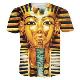 Wholesale egyptian top - Wholesale- 3D Big Face King Tut Egypt Egyptian Pharaoh Pyramid Print T Shirts Men Women Hip Hip Casual Tees Tops Harajuku Fashion T-shirts