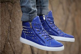 Wholesale Blue Nightclub - High help men shoes fashion street shoes sneakers rivet nightclub Martin short boots men's shoes free shipping