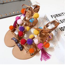 Wholesale Strappy Heeled Sandals - Plus Size 35-41 Ethnic Bohemian Summer Woman Pompon Sandals Gladiator Roman Strappy Knee High Boots Embroidered Tassel Shoes