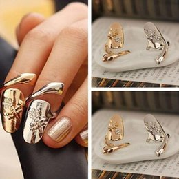Wholesale Dragonfly Silver - New Exquisite Cute Retro Queen Dragonfly Design Rhinestone Plum Snake Gold Silver Ring Finger Nail Rings 10pcs Free Shipping