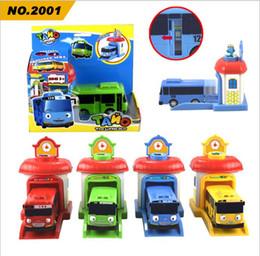 Wholesale Miniature Christmas Toys Wholesale - 4pcs set Scale model tayo the little bus children miniature bus plastic baby oyuncak garage tayo bus kids toys Christmas gift