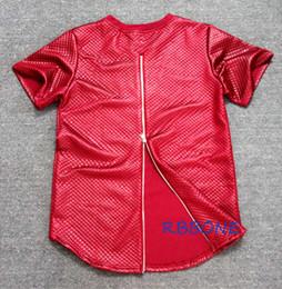 Wholesale Pyrex Kanye - Man Si Tun Summer side zipper Men Tyga plaid pyrex ktz New Short Sleeve T shirt Faux Leather Men Hip Hop clothing Kanye Tee