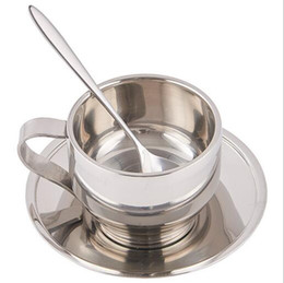 Wholesale Double Wall Cup Set - HOT 120ml high quality stainless steel coffee cup saucer and spoon set stainless steel double wall coffee mug