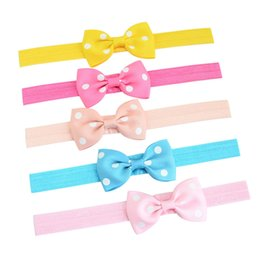 Wholesale Colorful Hair Bands - INS Newest Baby Girls Dot Bow Headband Bowknot Headwrap Kids Colorful Soft Hair band Photography Props