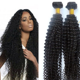 Wholesale 24 Inch Kinky Curly Hair - Virgin Brazilian hair bundles Human hair weaves kinky curly Wefts 8-34inch Unprocessed Indian Peruvian Malaysian Dyeable hair Extensions