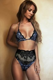 Wholesale High Waisted Two Piece Swimsuits - Hot Fashion Lace High-waisted Bikini Swimsuit Two-piece Hollow Out Perspective Woman Sexy Underwear Dress Black Strappy Bikini