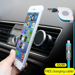 Wholesale S4 Holder - Wholesale- Universal Magnetic Car Phone Holder 360 Degrees Rotation Holder For iPhone 6s Plus Samsung S6 S5 S4