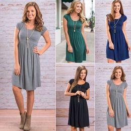 Wholesale Cheap Cotton Dresses For Women - Cheap Summer Dress For Women Short Sleeve O-Neck Plain Dress High Waist Pleated Skater Dress Ladies Short Everyday Dresses MDG0611