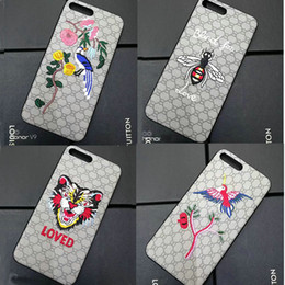 Wholesale Iphone Cases Bees - Luxury brand Embroidered Tiger Bird Bees Hard Case For apple iphone 6 6s 7 plus phone shell for iphone 7 7plus back cover