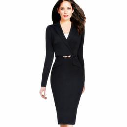Wholesale Ladies Slimming Work Dresses - Autumn Women Dress Suit 2017 Ladies Evening Sashes Dress Suits Slim Button Pocket Business Work Wear Black Elegant Party Dresses