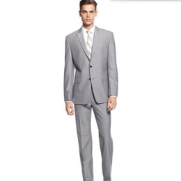 Wholesale Wedding Groomsmen Yellow Dress - Custom made Groom suits Light Gray men's Wedding suits Tuxedo high quality Groomsmen Party dress Suits (jacket+pants)