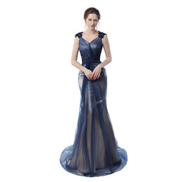 Wholesale Grey Color Evening Dress - Real Pictures Navy Blue Mermaid Evening Gowns 2017 Grey Color Vintage Party Gowns Prom Dresses Free Shipping