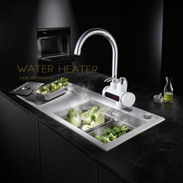 Wholesale Faucet Heater - Wholesale- RU Electric Hot Faucet Water Heater Electric Water Heating Tankless Kitchen Faucet Digital Display Instant Water Tap Deck Mount