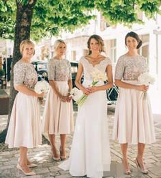Wholesale Sequin Half Sleeves Tops - 2017 Blush Pink Bridesmaid Dresses Half Sleeve Sparkly Sequins Top Maid Of Honor Tea Length Bridesmaid Dresses Cheap Custom Made