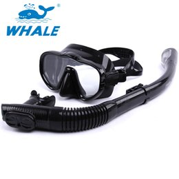 Wholesale Snorkel Tube - Wholesale-Professional Scuba Diving Mask Brand Whale Diving Mask Snorkel Set Adults Swimming Scuba Glasses Diving Tube Swim Equipment