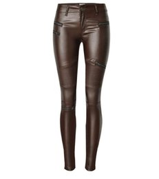 Wholesale High Waisted Leather Pants Women - New Fashion Women Pants Trousers Casual High Waisted Outer Wear Women Female Fashion Slim Cool Zipper Motorcycle Skinny PU Leather Pants