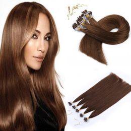 Wholesale Auburn Micro Loop Hair Extensions - Brazilian micro loop hair extension 0.5g strand 100g pack #1 #1B #2 #4 top quality human hair extension in stock