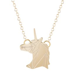 Wholesale Statement Necklace Gold Filled - 10pcs lot Hot Sale Choker Pendant Necklace Horse Unicorn Zinc Alloy Horses Punk Necklace Jewelry Simple Statement Necklace