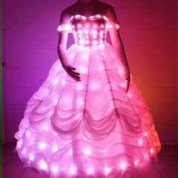 Wholesale Chiffon Dresses For Dinner - YB056 Remote Controller light up led suit stage costumes for singers LED Wedding Dress Lighting Long Dress for Dinner Party Stage