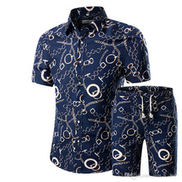 Wholesale Hawaiian Dress Xl - Men Shirts+Shorts Set New Summer Casual Printed Hawaiian Shirt Homme Short Male Printing Dress Suit Sets Plus Size