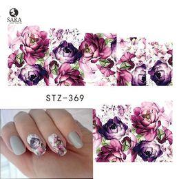 Wholesale fingernail wraps - Sara Nail Salon 1PCS Water Transfer Nails Art Sticker Purple Flowers Nail Wraps Sticker Watermark Fingernails Decals STZ369