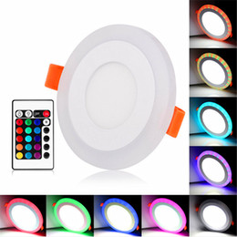 Wholesale Concealed Lights - 100-265V Ultra Slim 6W 9W 18W 24W Round Concealed Dual Color LED Panel Light Lamp Downlight Recessed Lights Indoor Lighting Bulb