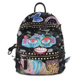 Wholesale Double Book Light - The new denim canvas double shoulder backpack light damp girl sequined rivet bag insignia embroidery travel book