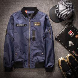 куртка негабаритных мужчин Скидка Мужчины MA1 куртка с длинным рукавом полиэстер человек бомбардировщик пальто повседневная slim fit стенд воротник печати homme jaquates oversize M-XXXXXL yee3342