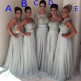 Wholesale Halter Sweetheart Chiffon Wedding Dress - Mixed Neckline Lace Empire Bridesmaid Dresses Off-The-Shoulder A Line Chiffon Maid Of Honor Gowns Lace Sequins Halter Wedding Guest Dresses