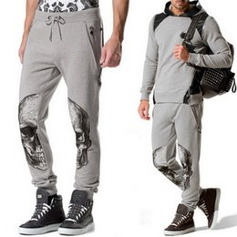 Wholesale Black Rhinestone Pants - Men Sweat Pants Fancy Jogging Trousers Rhinestones Skull Faces Ribbed Trim Elasticated Waistband Casual Cotton Long Pants