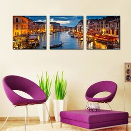 Wholesale Venice Oil Paintings - Canvas Prints 3 Panels Venice Night View Canvas Paintings Artwork Print Landscape Wall Art Painting with Wooden Framed For Home Decoration