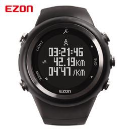 Wholesale Ezon Watches - EZON GPS Outdoor Running Sports Watch 5ATM Waterproof Pedometer Calorie Counter Digital Men Women Military Wristwatch 2017 New
