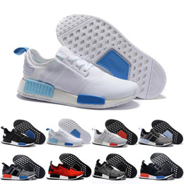 "Wholesale Basketball Mens Tennis Shoes - 2017 Wholesale NMD Runner R1 W 2016 ""Blue Glow"" Running Shoes Mens Women's Athletic sneaker Runners Shoe Cheap Brand Boost White With Box"