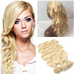 Wholesale Golden Blonde Hair Extensions - Body Wave #613 Blonde 360 Full Lace Band Frontal Closure 22.5x4x2 with 3Bundles Virgin Indian Golden Blonde Human Hair Extensions 4Pcs Lot