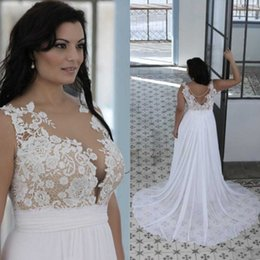 Wholesale Wedding Dresses Line China - 2017 Plus Size Beach Wedding Dresses Cheap Sexy Sheer Neckline Backless Lace Chiffon Long Bridal Gowns Custom Made China EF5092