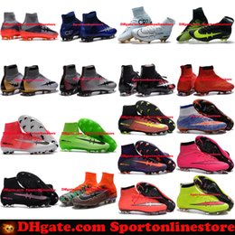 Wholesale Spike Shoes For Women - Mens Women Kids Soccer Boots Mercurial Superfly CR7 FG Soccer Cleats Youth Cristiano Ronaldo Football Boots Shoes Forged for Greatness 2017
