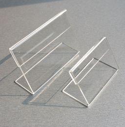 Canada Diverses petites tailles T1.2mm Acrylique Transparent En Plastique Signe Affichage Papier Carte Étiquette De Prix Titulaire L En Forme De Stand Horizontal Sur Table 50pcs Offre