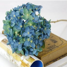 "Wholesale Tulips Fake Flowers - Artificial Hydrangea Flower 42cm 16.6"" Fake Silk Single Hydrangeas 6 Colors for Wedding Centerpieces Home Party Decorative Flowers"