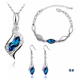 Wholesale Crystal Earrings For Sale - Earrings Silver Jewelry Sets Hot Sale Crystal Earrings Pendant Necklaces Bracelets Set for Women Girl Party Gift Fashion Jewelry Wholesale