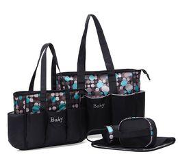 Wholesale Nursery Mama Bag - 50sets 2017 New Big Capacity Five-piece mummy bag for moms baby printing diaper bag nursery Mama Bag 3colors