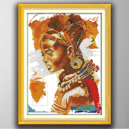 Wholesale Embroidery Stitching Tool - The African woman lady , Gracious style Cross Stitch Needlework Sets Embroidery kits paintings counted printed on canvas DMC 14CT  11CT