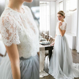 952498e2936 Country Style Wedding Dresses 2017 Cheap White Lace Dusty Blue Tulle Short  Sleeve Long Bridal Gowns Plus Size Custom Made EN11241
