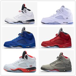 Wholesale Men Color Shoes - Classic retro 5 basketball shoes white cement black metallic red blue suede Oreo sneakers Grape color bel air Oreo for men women