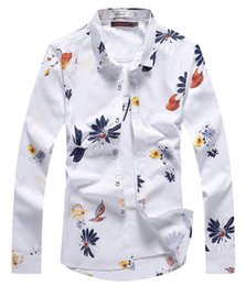 Wholesale Dress Shirts For Mens - Wholesale- 2017 New Vogue Mens White Long Sleeve Shirts White Floral Shirts For Guys