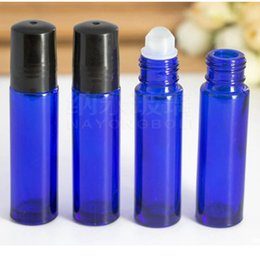 Wholesale Blue Glass Oz Bottles - DHL Essential Nature Blue Glass Bottles (Not Painted) Metal Rollers 10ml 1 3 Oz, High Quality Roll on Packing Bottles for Essential Oils