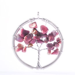 Wholesale Gold Charm Christmas Tree - Silver Crystal Natural Stone Hollow Tree Of Life Round Winding Zinc Alloy Wire DIY Charms Making For Female Jewelry Making Christmas Gift
