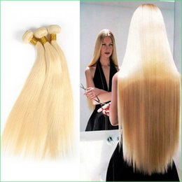 Wholesale Classic Human Hair - Color 613 Blonde Sleek Straight Human Hair Weft,Classic Blonde Soft and Smooth Indian Virgin Remy Straight Weave Hair Extension Bundles 3pcs