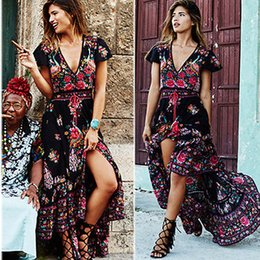 Wholesale Women S Size 16 Dress - Wholesale- 2016 Women Ladies Summer Chiffon Long Summer Vintage Boho Maxi Dress Plus Size 8-16 Wholesale