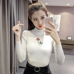 Wholesale Black Sweater Ruffle - New Knitted Turtleneck Fashion Women Sweater Autumn Rose Embroidery High Stretch Tight Slim Striped Pullover Long Sleeve Sweaters fs1907