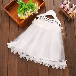 Wholesale Chiffon Baptism Dresses - Toddler Girl Baptism Dress Christmas Costume Petals 2017 Baby Girl Dress 1 Year Birthday Gift Kids Party Wear Tulle Dresses For Girls MSG018